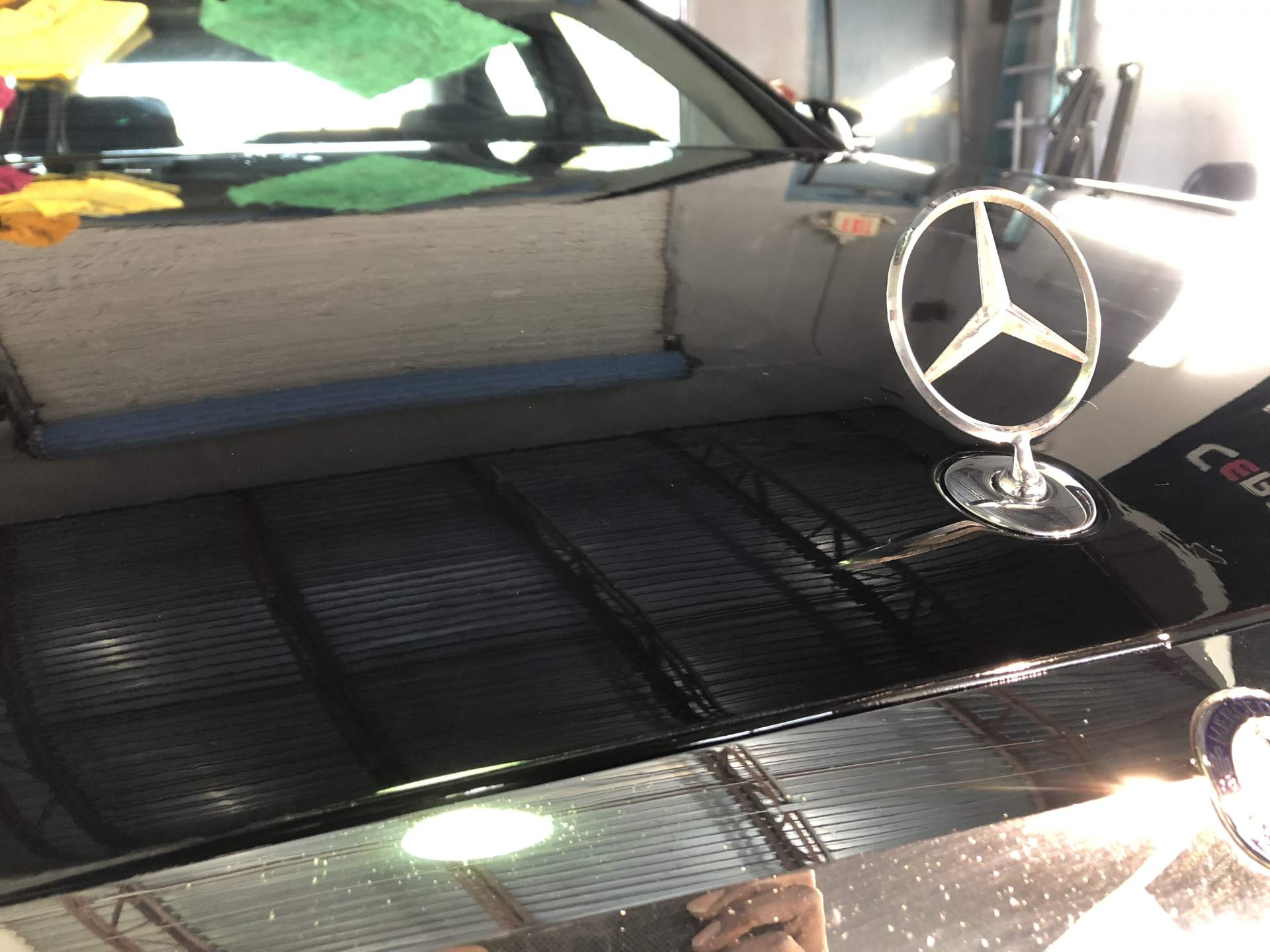 Black Mercedes hood all shined up